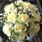 Rose, gyp and euc wedding bouquet hand-tied