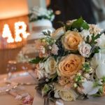 Peach, cream, silver stunning wedding bouquet
