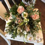 Rose, Lisianthus, Wax flower and foliage wedding bouquet
