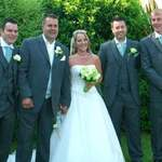 The stunning bride, With the groom & Ushers.