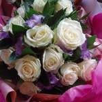 Avalanche Roses & Lilac Lissianthus Hand-Tied Bouquet.
