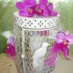 Ornate birdcage, Decorated with Orchids.