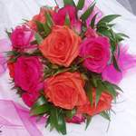 Hand-Tied Bouquet Orange Neranja & Hot Pink Marina Roses.