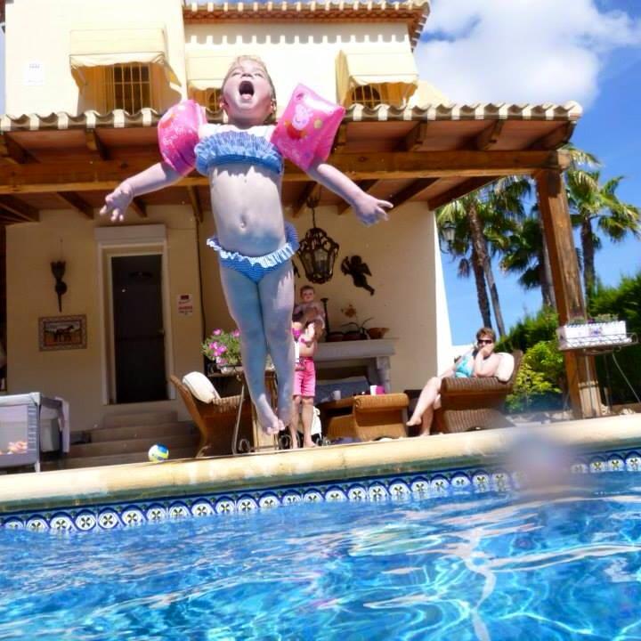 Honour jumping into pool El Dorado