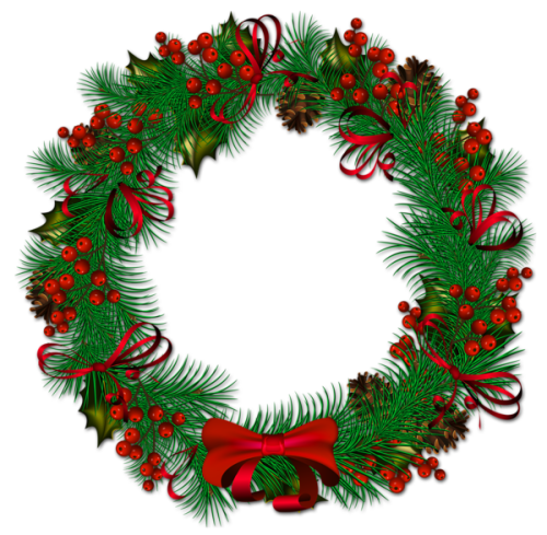 transparent_christmas_pinecone_wreath_with_red_ribbon_clipart