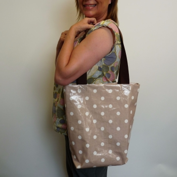 Julie with oilcloth bag - sewn July 2106 at Sew In Brighton