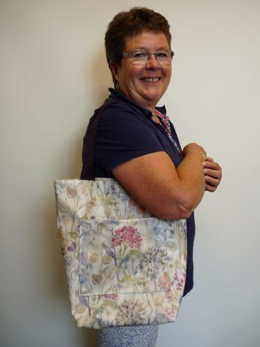 Mary with oilcloth bag - made July 2106 at Sew In Brighton