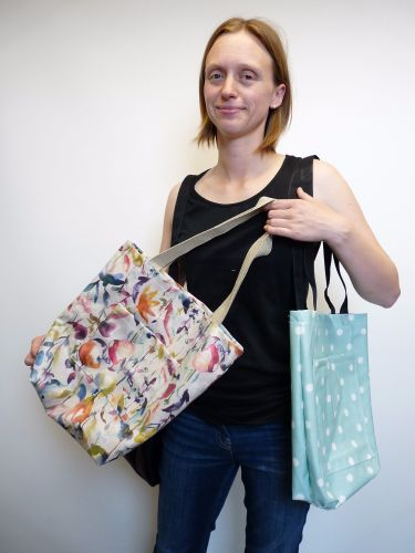 May with oilcloth bags - made by her, Ash and val - July 2106 at Sew In Bri