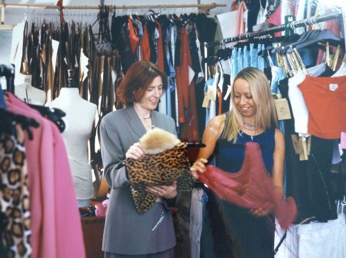 Sew In Brighton founder Kat in the 90s - Wit and Wisdom fashion label