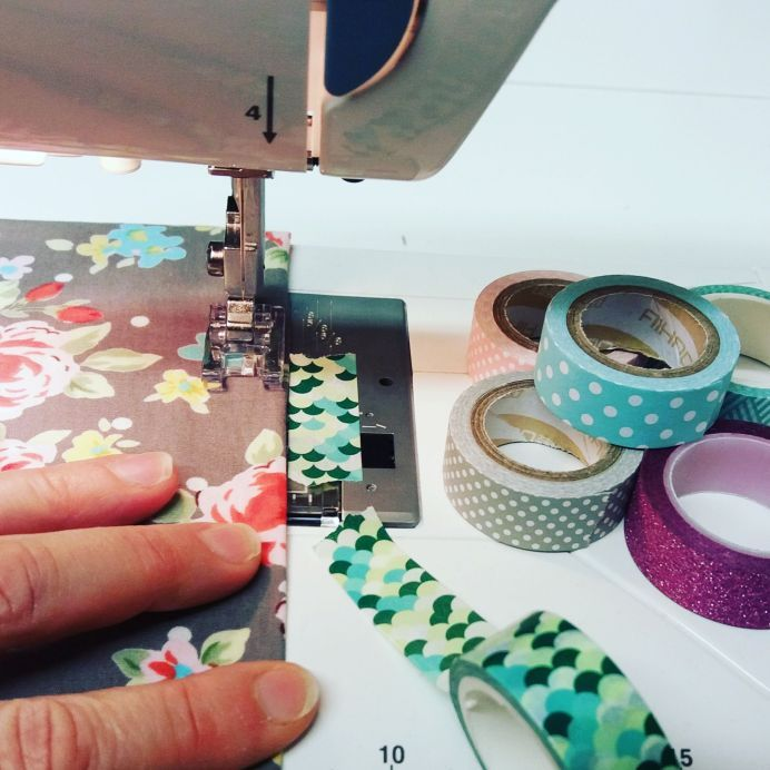 Sewing Tip - Washi Tape or Masking Tape on sewing machine as stitch guide