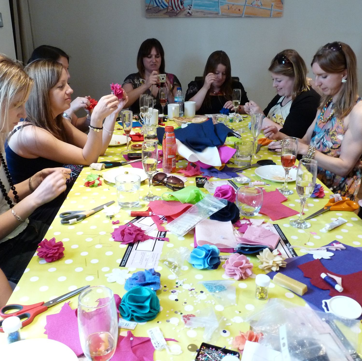 Felt flower sewing hen party activity for hen weekend in Brighton