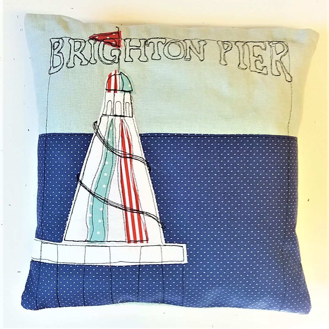 Freestyle Machine Embroidery Brighton Pier Cushion - Sew In Brighton Sewing School