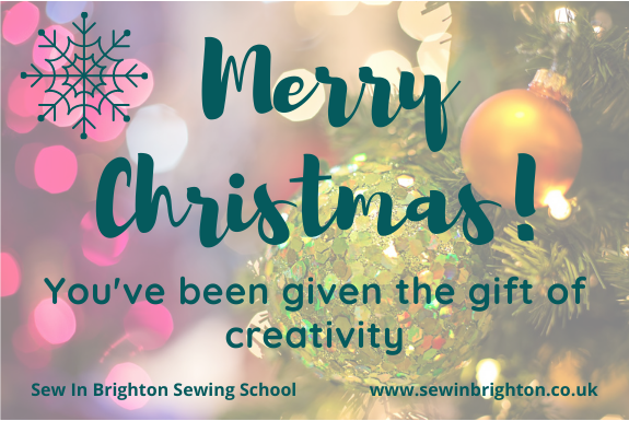 Gift vouchers from Sew In Brighton Sewing School - image of Christmas voucher