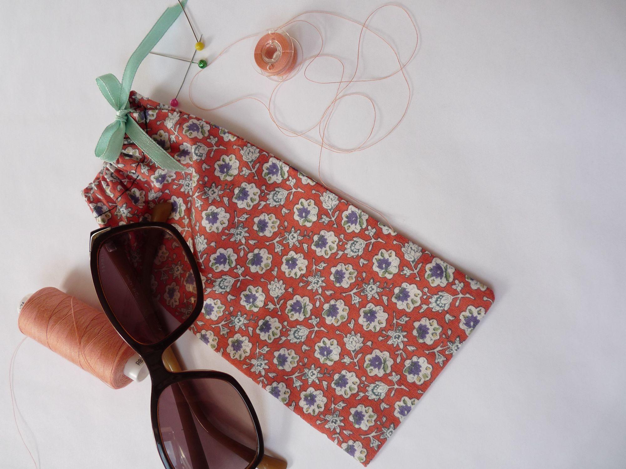 Drawstring phone or glasses case