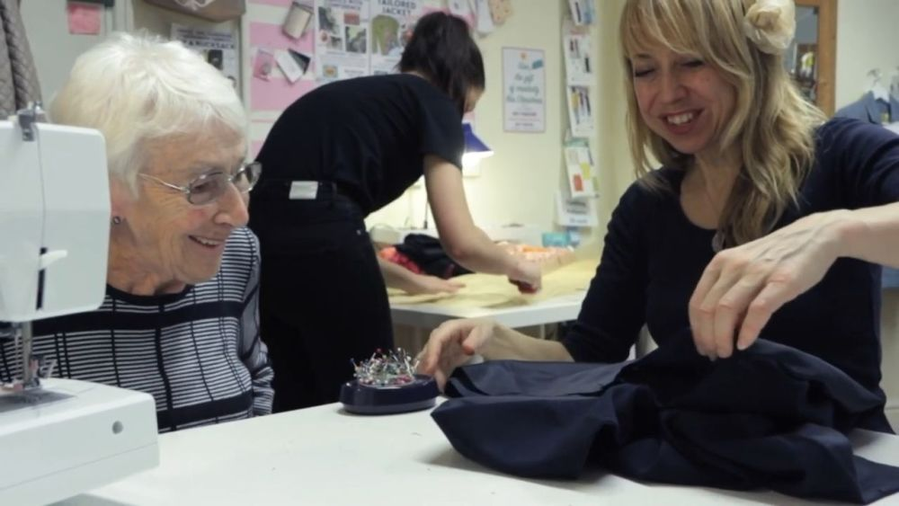 Cecile, mid eighties, gets help from teacher Kat at Sew In BRighton