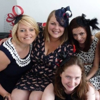 Fascinator hen party group shot