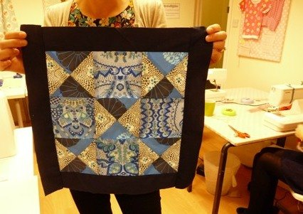 patchwork cushion made on last course