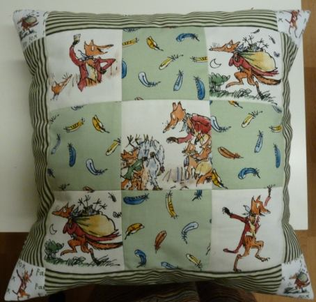 patchwork fox cushion made on 2013 course