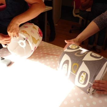 Lampshade making process - Sew In Brighton workshop sq