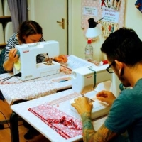 bag sewing workshop students at work - Sew In Brighton - square
