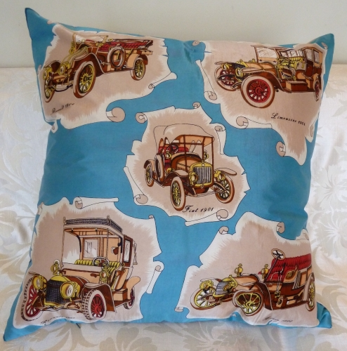 Vintage cars silk cushion.