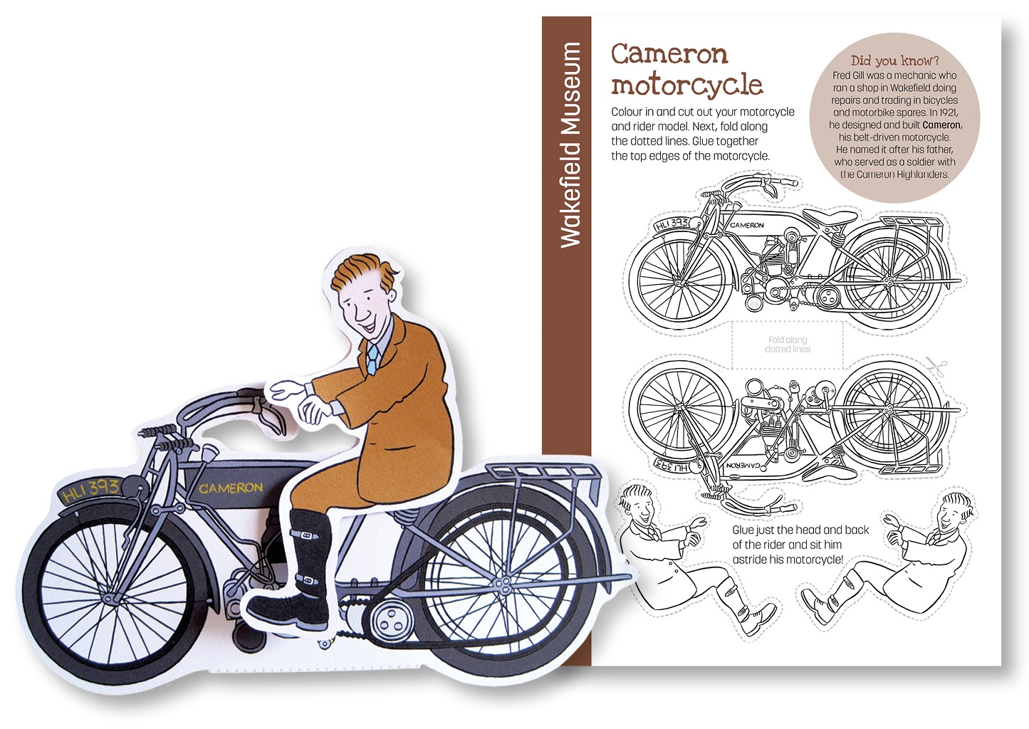 Blackbird Publishing Wakefield Museum Colouring Papercraft Activity Sheet Motorcycle and Rider Model