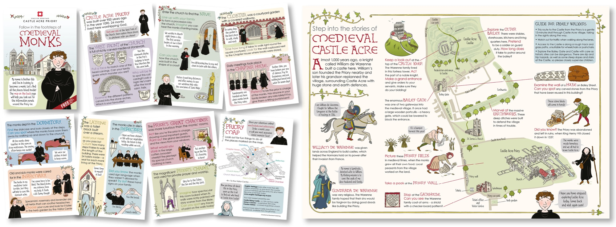 Blackbird Publishing Family Activity Trails Fold-out Booklet with Picture  Map English Heritage  Castle Acre Priory & Village