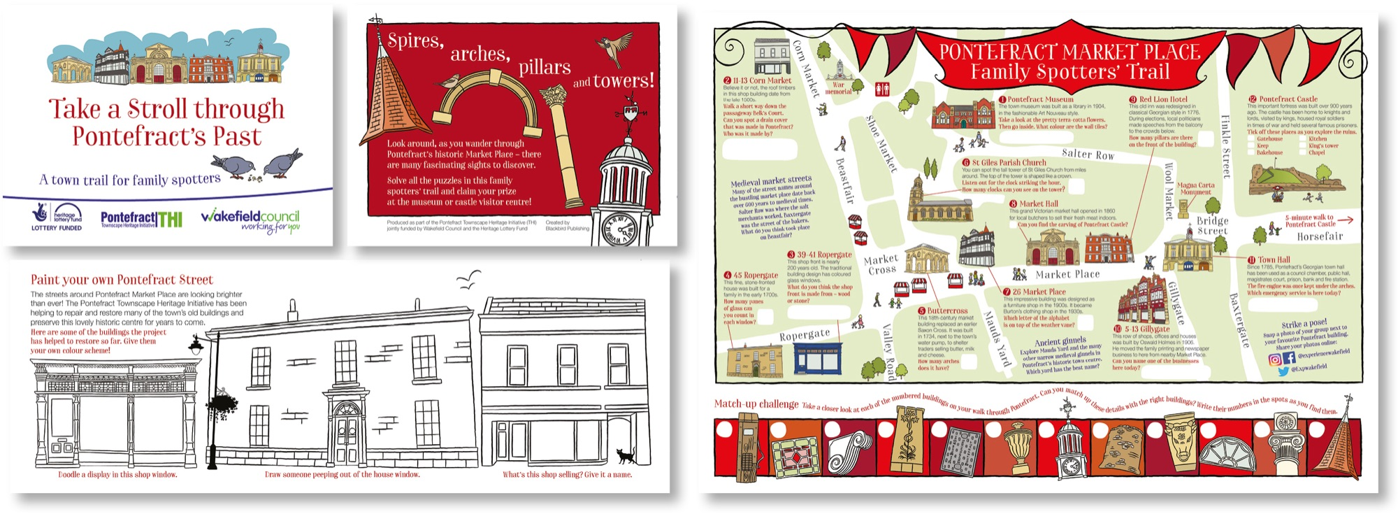 Blackbird Publishing Family Activity Trails Fold-out Booklet with Picture  Map Pontefact Market Place