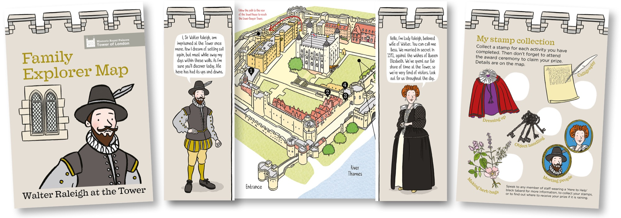 Blackbird Publishing Family Activity Trails Fold-out Picture  Map Leaflet Historic Royal Palaces Tower of London