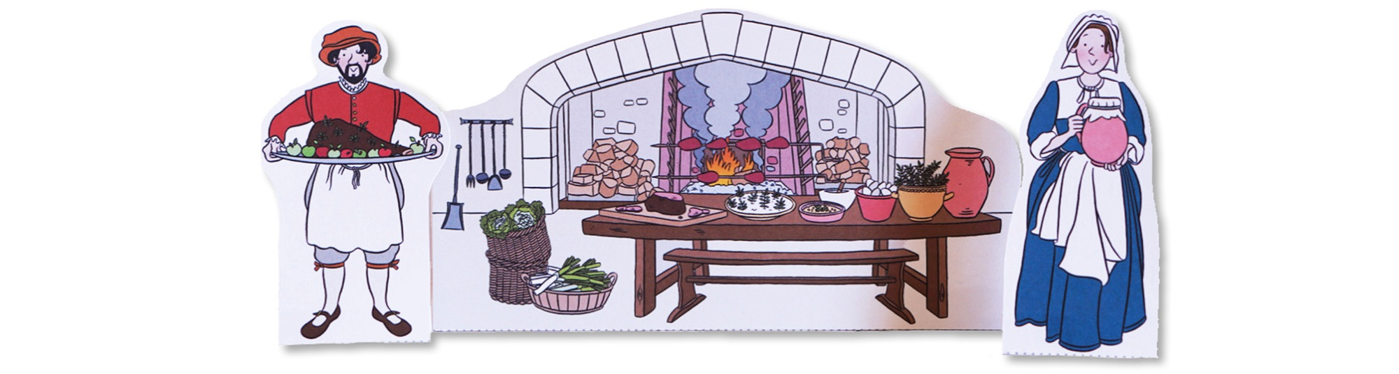 Blackbird Publishing Colouring Papercrafts Character Playset Tudor Kitchen