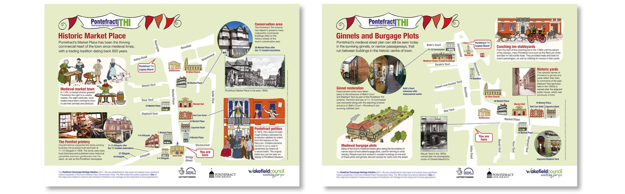 Blackbird Publishing Family  Interpretation Town Panels  Pontefract Historic Market Place