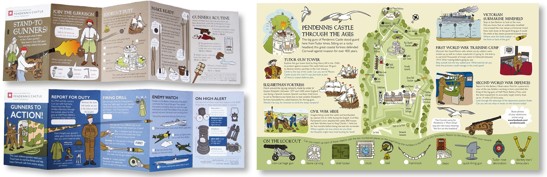 Blackbird Publishing Family Activity Trails Fold-out Booklet with Picture  Map English Heritage Pendennis Castle