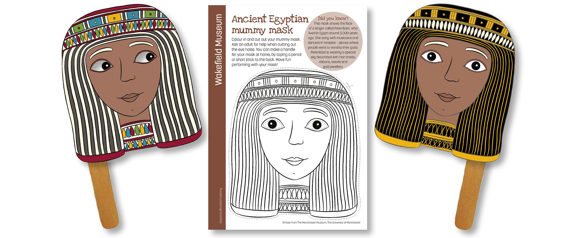 Blackbird Publishing Colouring Papercrafts  Wakefield Museum Ancient Egyptian Mask