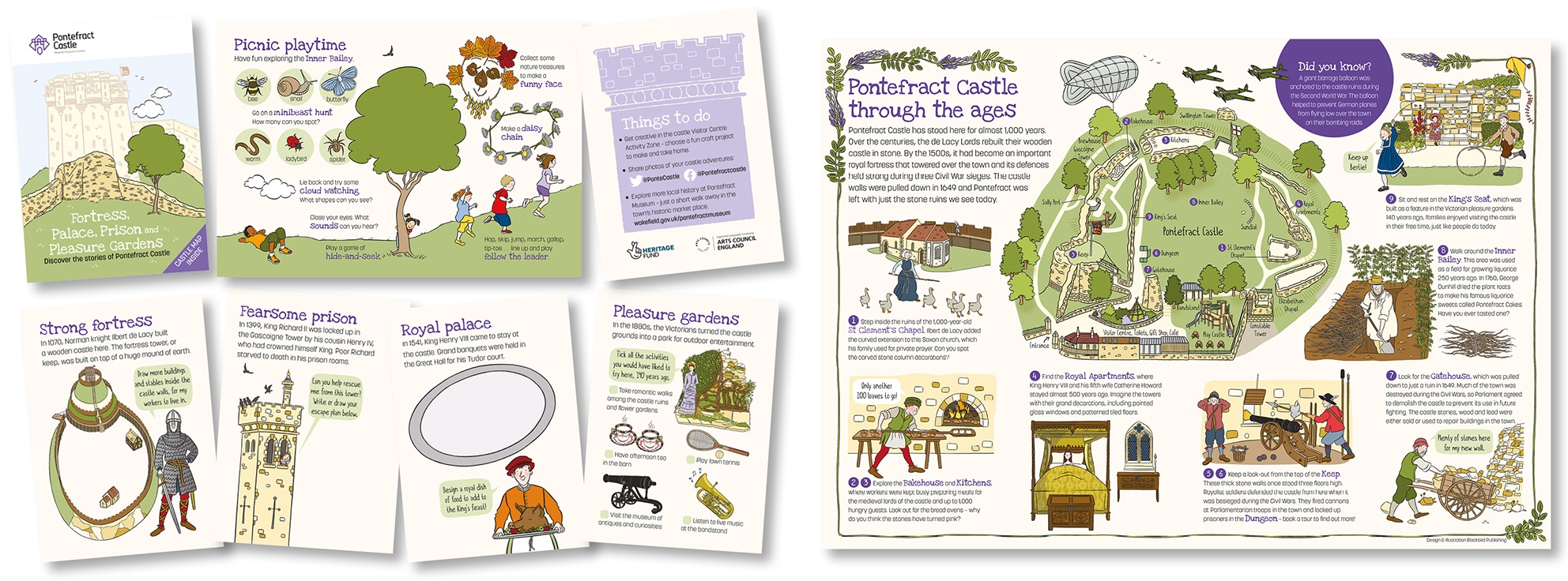 Blackbird Publishing Family Activity Trails Fold-out Booklet with Picture  Map Wakefield Museums Pontefract Castle