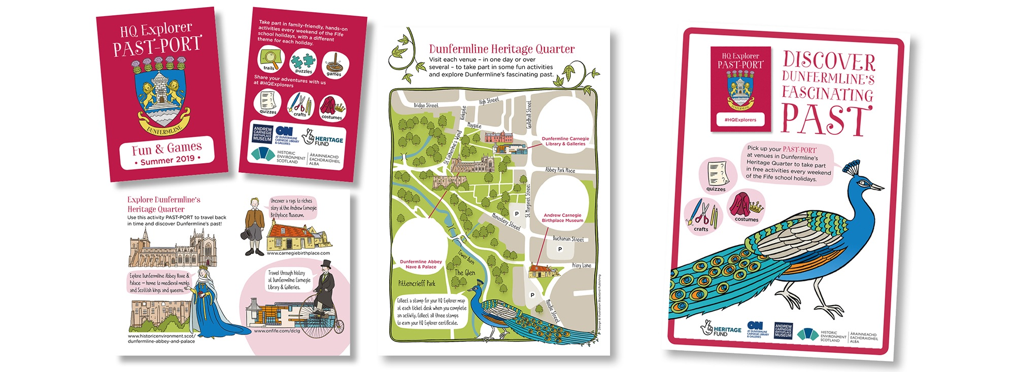 Blackbird Publishing Family Activity Trails Fold-out Activity Leaflet Dunfermline Heritage Quarter Explorer Past-port
