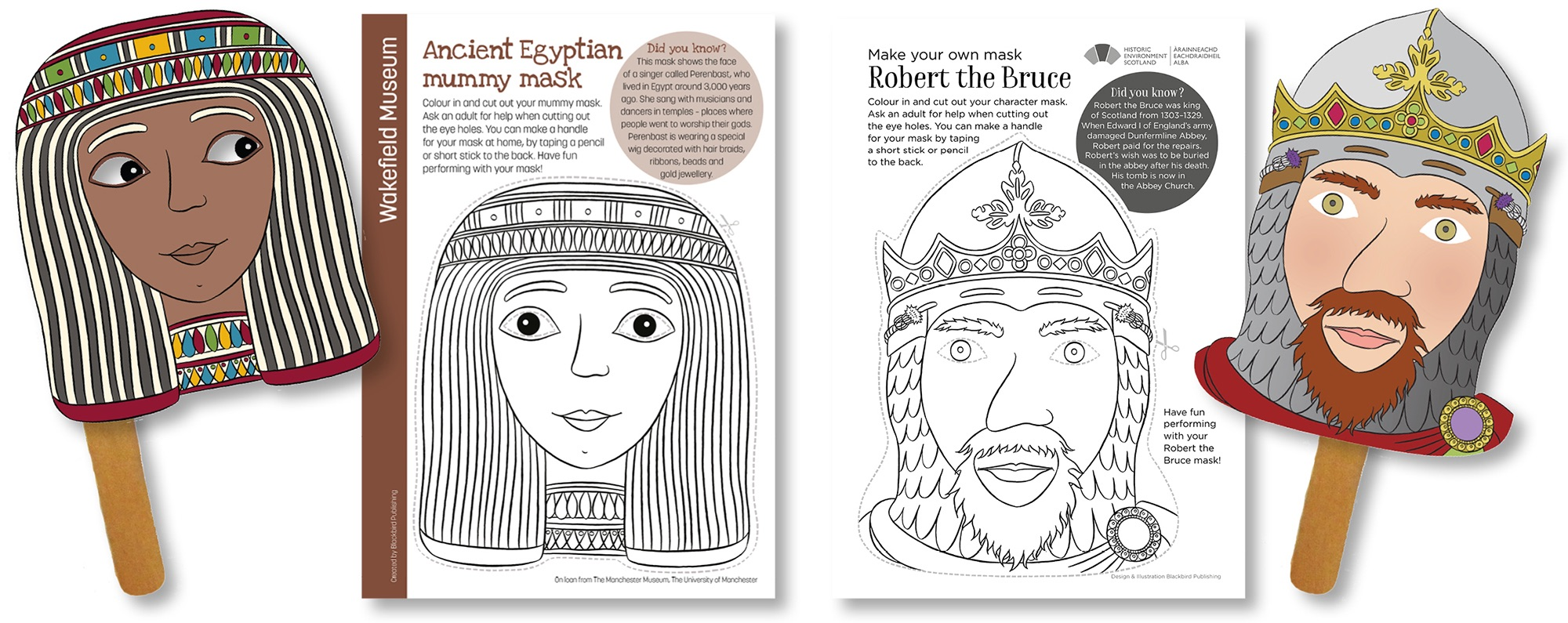 Blackbird Publishing Colouring Papercrafts  hand-held historical character masks