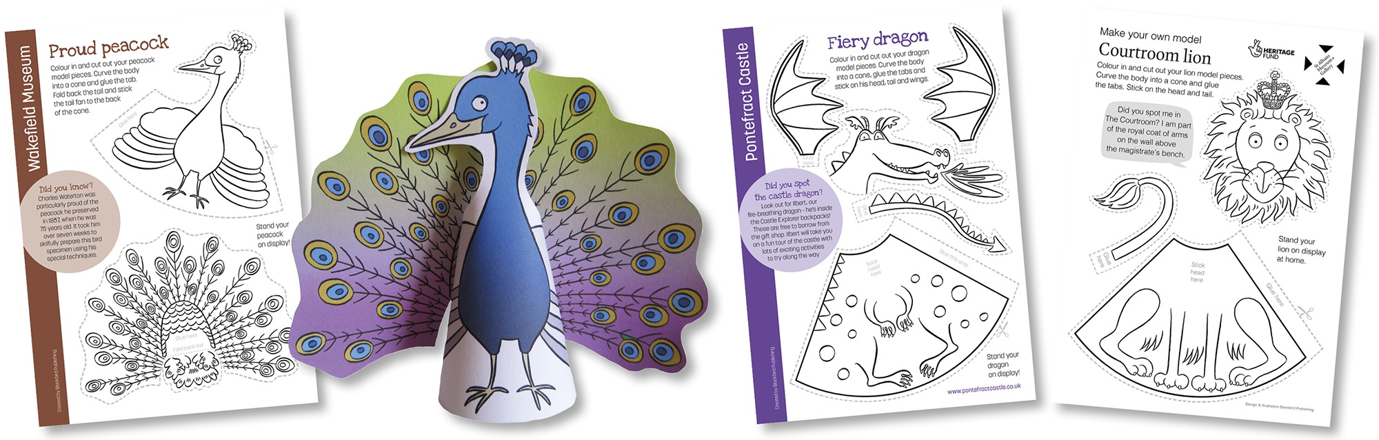 Blackbird Publishing Colouring Papercrafts Animal Cone Model Activity Sheets