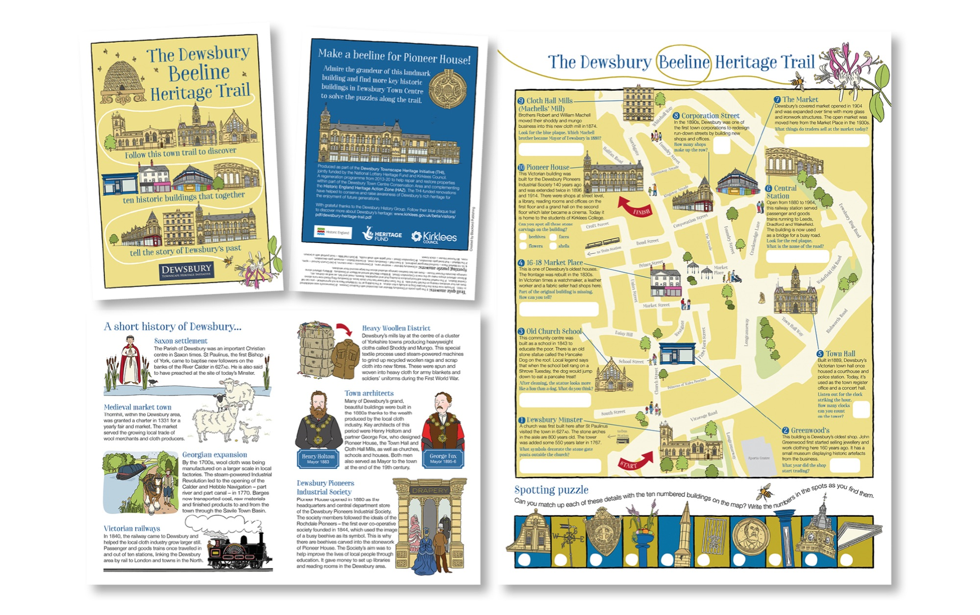 Blackbird Publishing Fold-out activity trail map  Dewsbury Beeline Heritage Trail