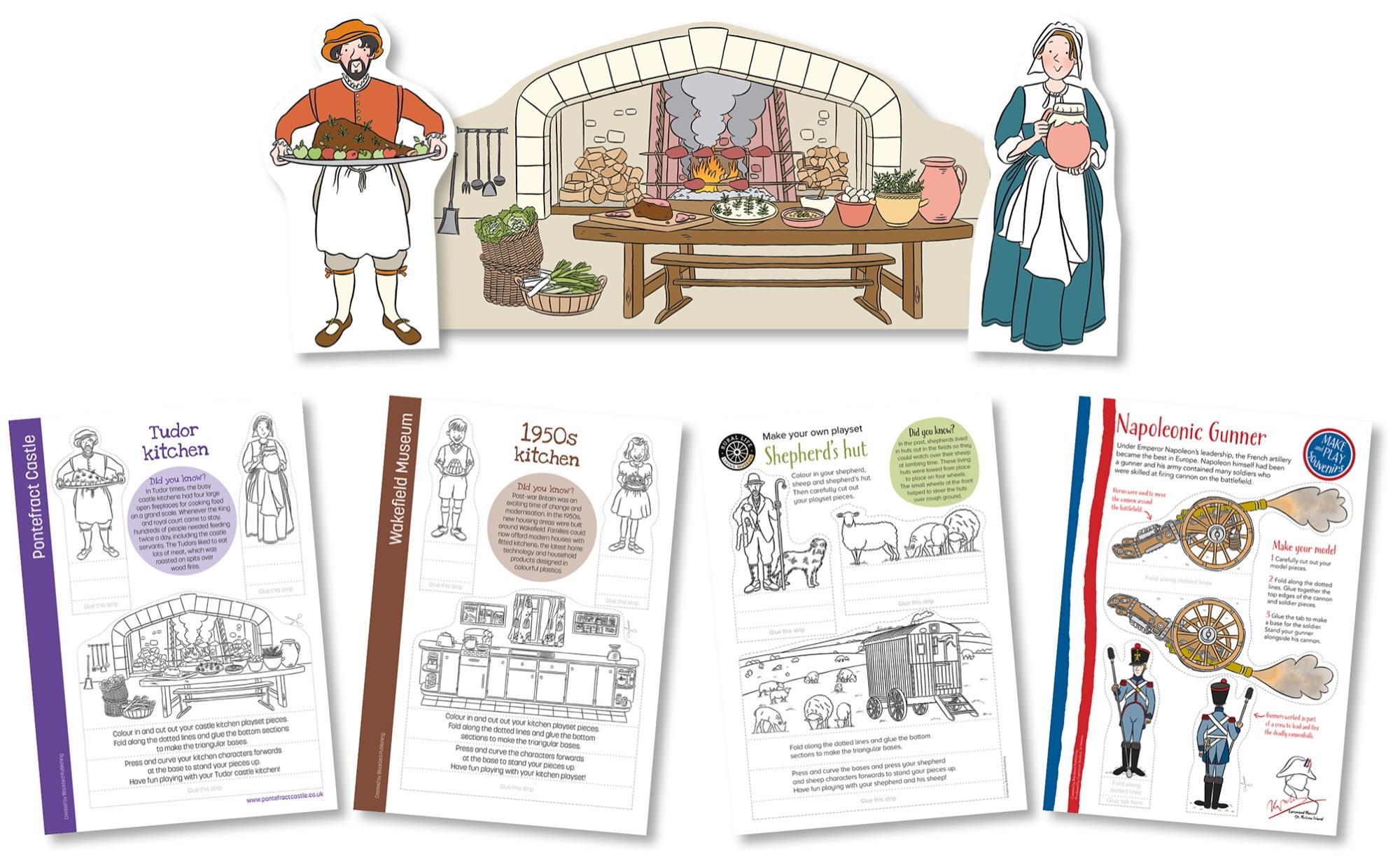 Blackbird Publishing Colouring Papercrafts Character Playset Tudor Kitchen