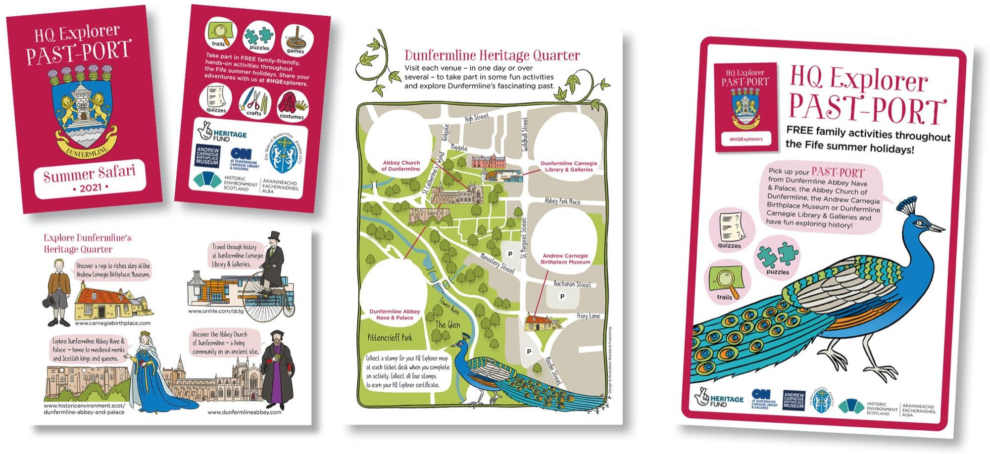 Blackbird Publishing Family Activity Trails Fold-out Activity Leaflet Dunfermline Heritage Quarter Explorer Past-port
