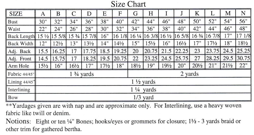 tv442 size chart