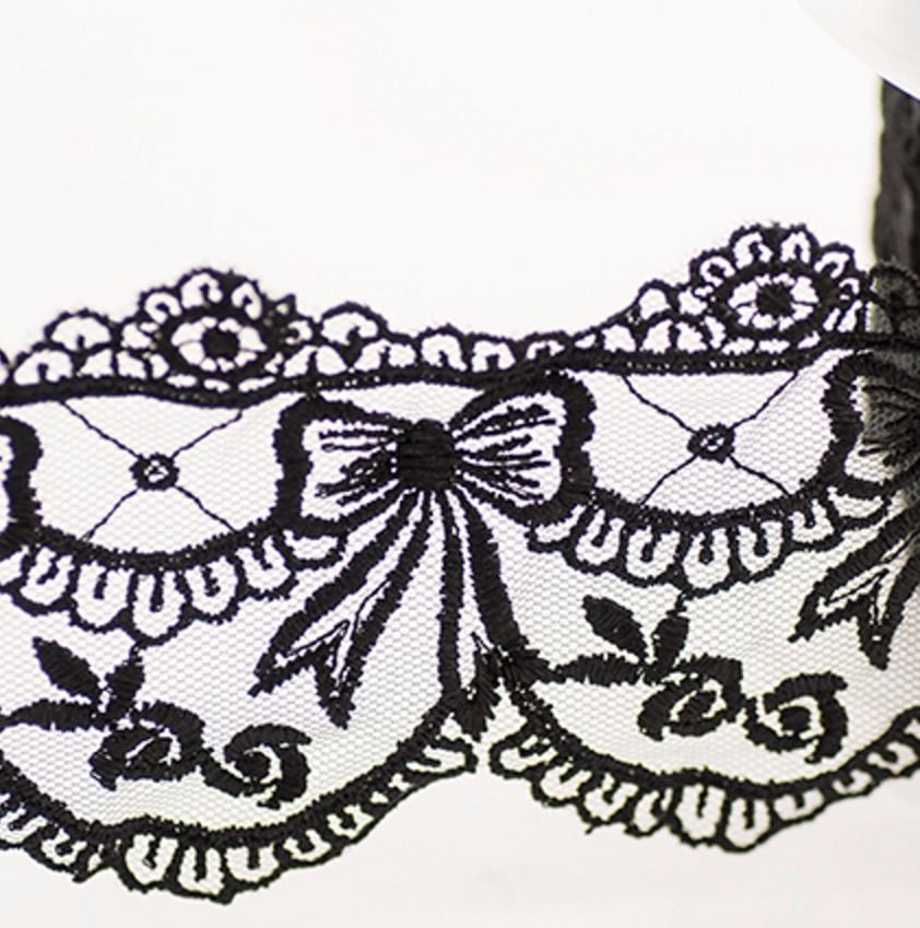 Wide Embroidered Tulle Lace - Bows