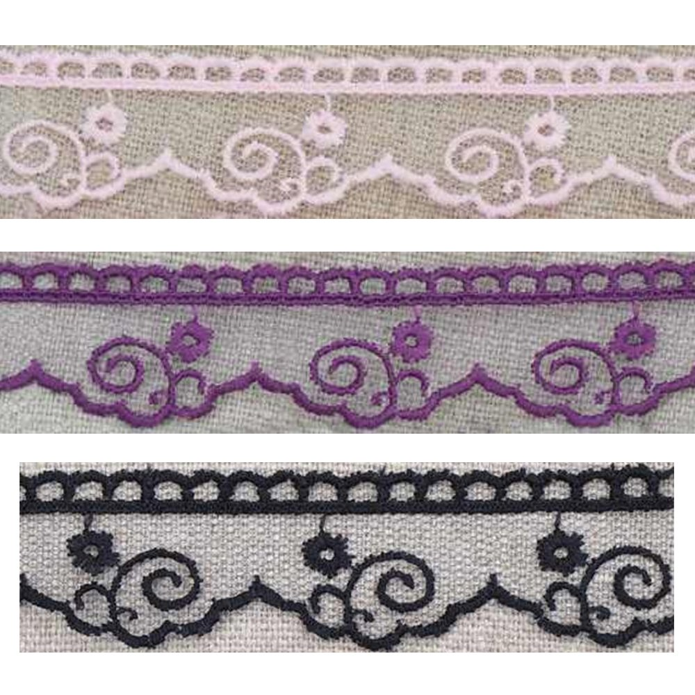 Embroidered Tulle Lace - scrolls