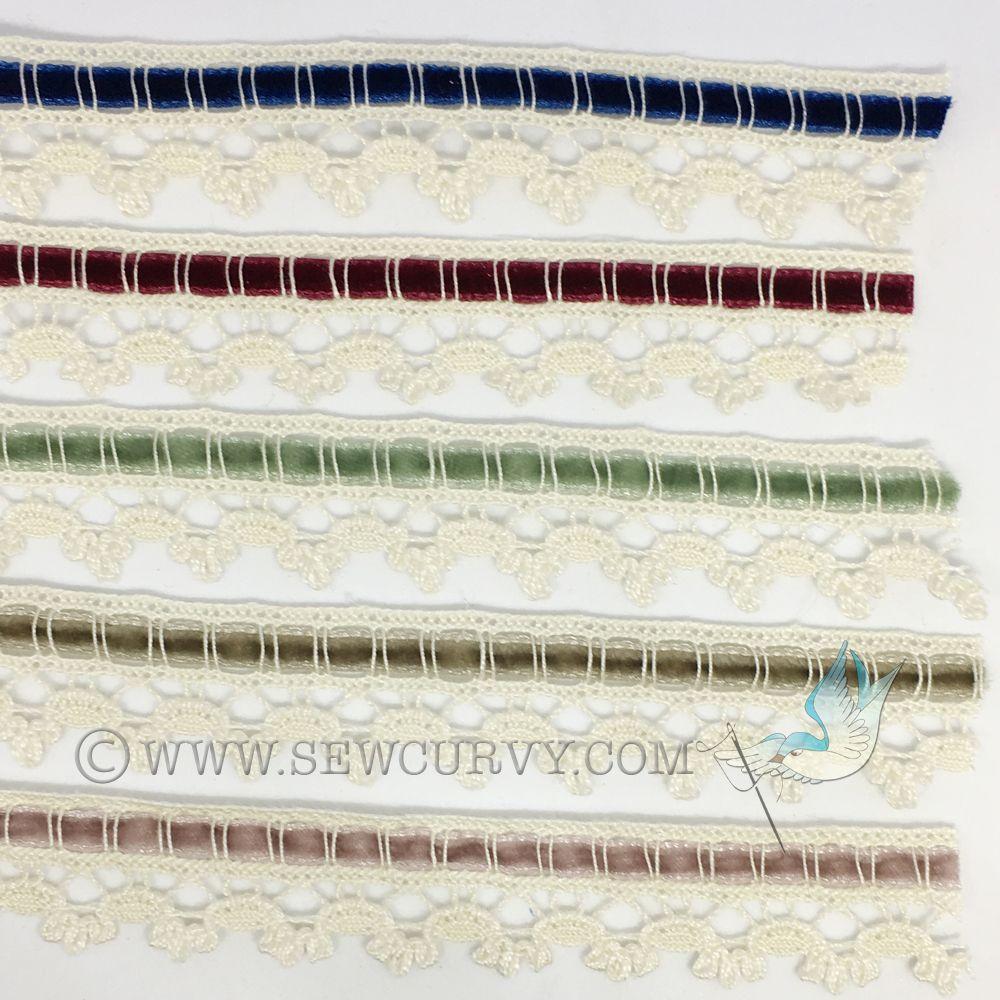 Antique style velvet ribbon and lace trim