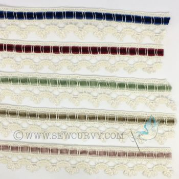 Antique style velvet ribbon and lace trim