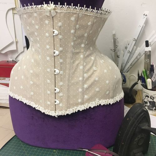 finished bridal corset sand coutil with ivory net