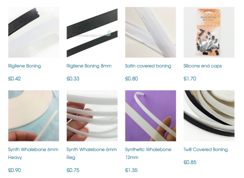 A range of Plastic boning on sale at Sew Curvy