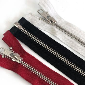 Metal open ended zips 25cm