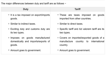 the difference between duties and tarrifs
