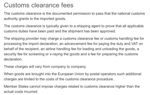 EU Customs clearance fees by postal service